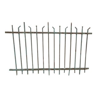 Antique Victorian Teal Iron Garden Fence Element