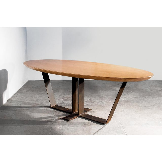 20th century custom oak top dining table chairish for Table th width