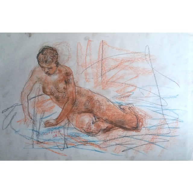 Kaboulov Nude Model Posing in the Studio Drawing - Image 2 of 2