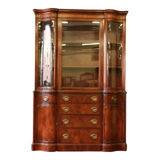 Vintage Drexel Mahogany Curved Glass China Cabinet