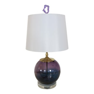 Orchid & Nile Blue Glass & Geode Finial Lamp