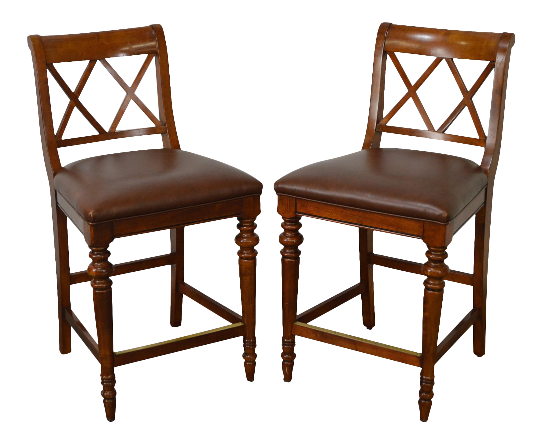 Ethan Allen Regency Style Counter Bar Stools   A Pair