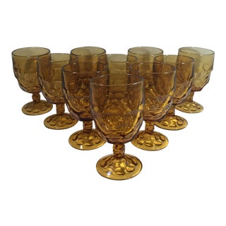 Mid-Century Amber Chalice Glasses - Set of 10