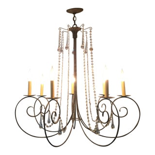 Studio Steel Crystal Scroll 7 Candle Chandelier