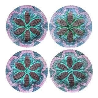 Vintage Etruscan Seaweed Majolica Plates-Set 4
