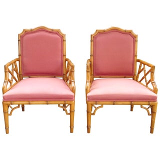 Chinese Chippendale Faux Bamboo Armchairs - A Pair