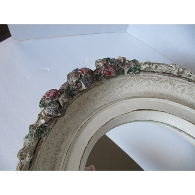 Oval Distressed Flower Mirror - Image 8 of 8