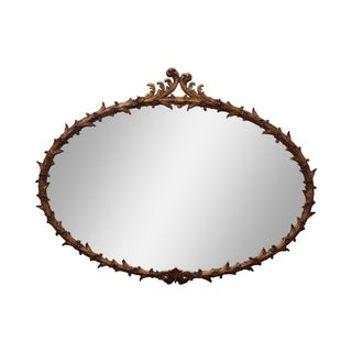 French Louis XV Style Oval Gilt Gold Frame Mirror