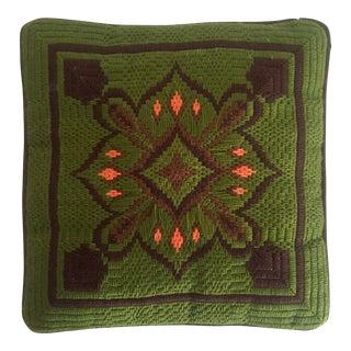 Vintage Mid Century Modern Hand Needlepoint Bargello Moorish Star Square Pillow