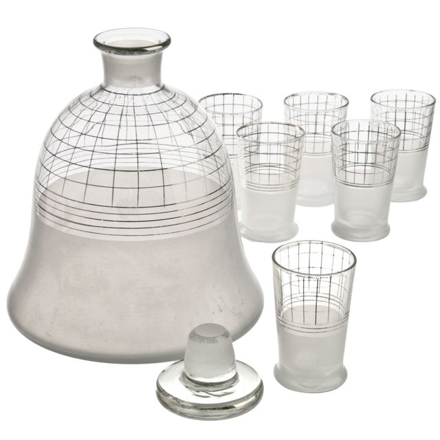 Mid-Century Glass Decanter With Six Glasses - Image 2 of 2