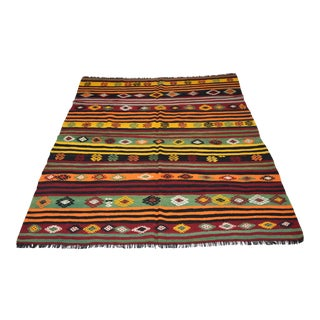 Embroidered Handwoven Vintage Kilim Rug - 6′1″ × 7′7″
