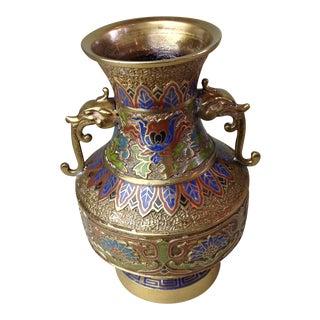 Vintage Japanese Dragon Handles Champleve Enamel Brass Vase