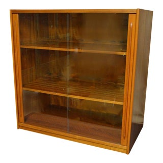 Storage Cabinet, Teak with Glass Doors, Wired for Electronics, Midcentury