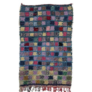 "Moroccan Boucherouite Carpet - 4'4""x2'8"""