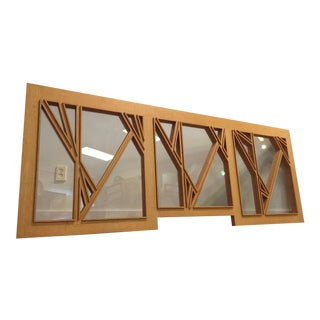 """White Oak and Glass Abstract Architectural Wall Sculpture Titled """"Third Window"""""""