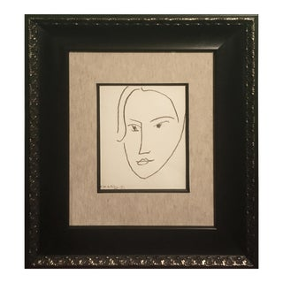 Original Limited Henri Matisse Lithographic Portrait & Alfred Barr Signature Page