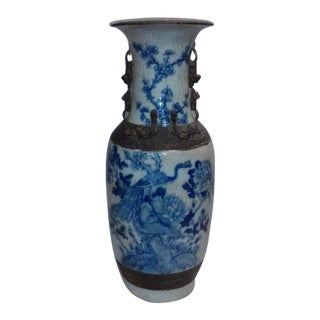 Vintage Chinese Blue Under Glaze Vase With Brown Painted Dragon Bats