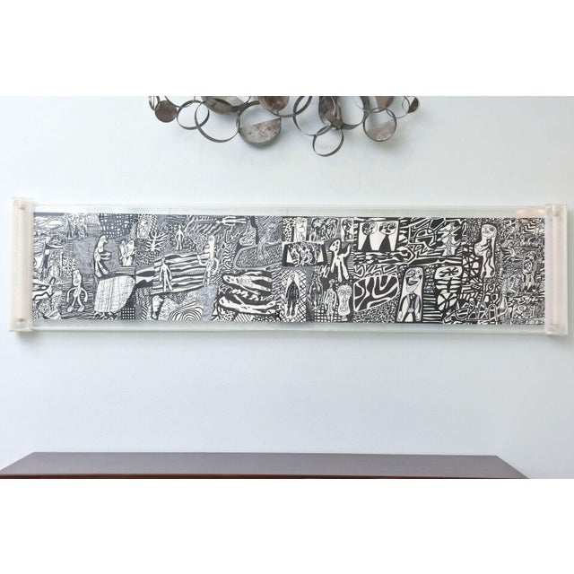 "Rare Jean Dubuffet Monochrome Silkscreen Mural on Paper Scroll, ""Parcours"" - Image 9 of 11"