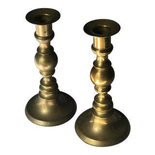 Colonial Brass Candle Holders - A Pair