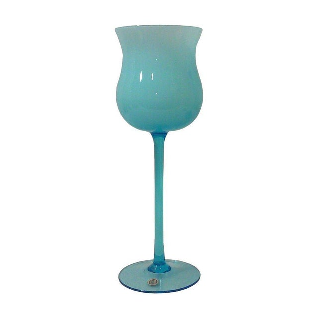 Image of Carlo Moretti Blue Cased Glass Tall Compote Vases - Set of 3