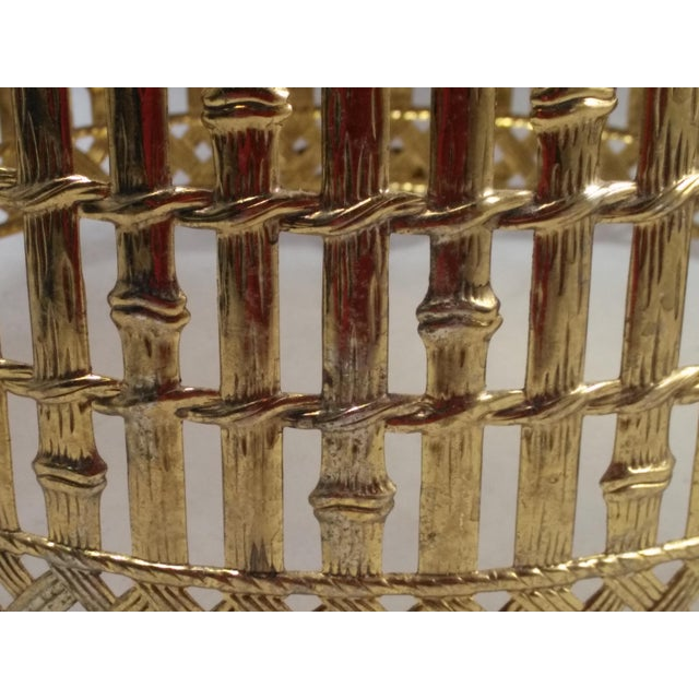 Gold Filigree Chinoiserie Faux Bamboo Waste Basket - Image 8 of 8