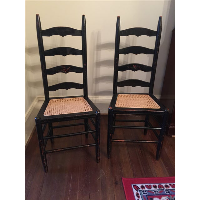 Rustic Ladder Back Cane Chairs - A Pair - Image 2 of 6
