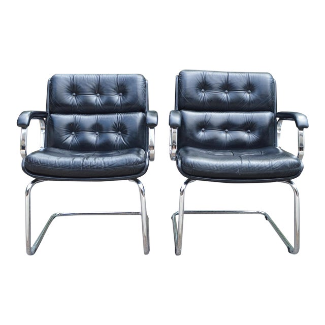 Mid-Century Leather & Chrome Club Chairs - a Pair - Image 1 of 7