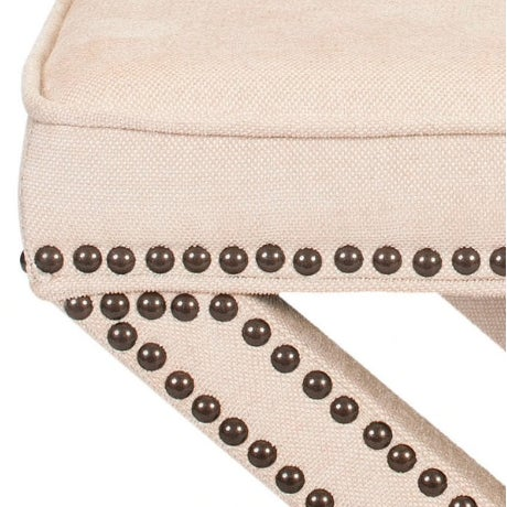 Linen Nailhead X-Bench Ottoman - a Pair - Image 4 of 8