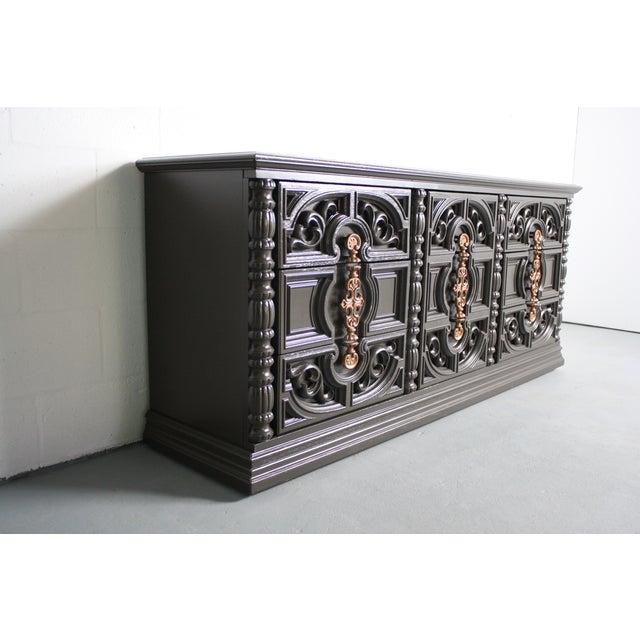 Hollywood Regency Gray & Bronze Dresser - Image 6 of 9