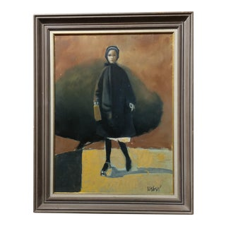 Girl with a Black Coat -1961 Mid century Modern Oil painting by Weber