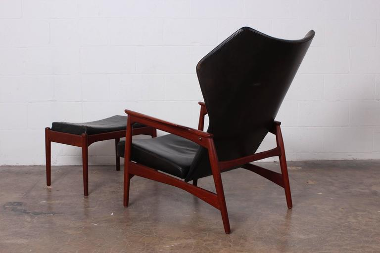 Charming Adjustable Leather Lounge Chair And Ottoman By Ib Kofod Larsen   Image 8 Of  10