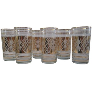 Mid-Century Gold Cut Glass Highballs - Set of 6
