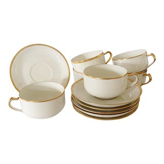 Limoges Gold Rim Cups & Saucers - Set of 6