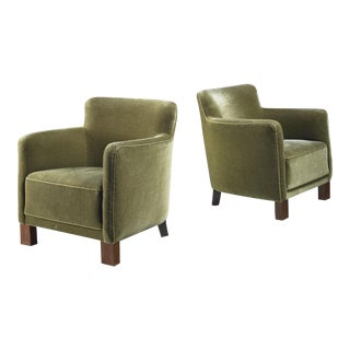 Pair of Danish Club Chairs in Green, 1940s