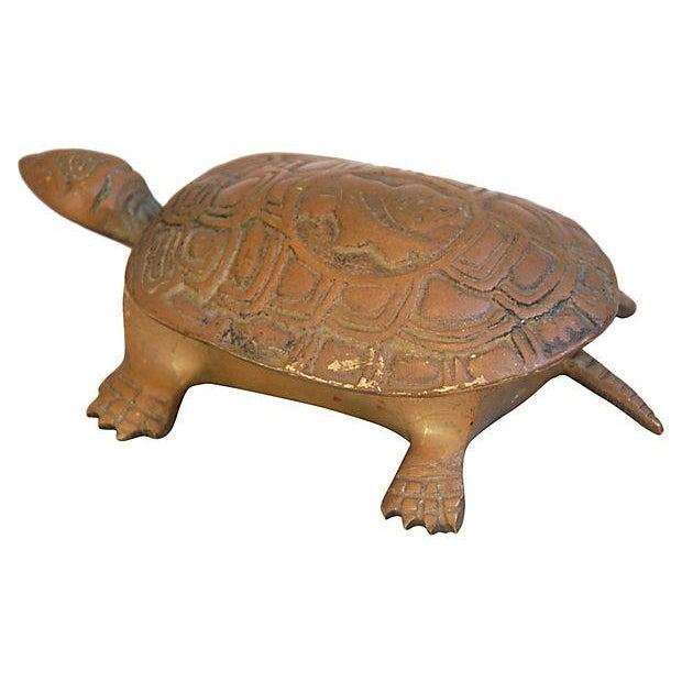 Mid-Century Brass Turtle Keepsake Trinket Box - Image 4 of 6