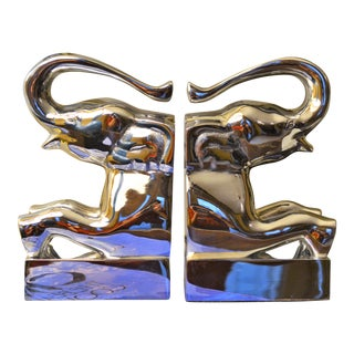 Dolbi Cashier Chrome Elephant Bookend Sculptures - A Pair