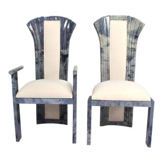 Set of 10,Goatskin Parchment Dining Chairs