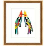 "Image of Inaluxe's ""Little Cockatiels"" Gold Framed Birds Art Print"