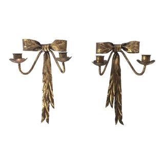 Mid-Century Italian Gilt Ribbon Candle Sconces