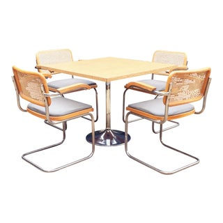 Mid-Century Cane and Chrome Dining Set