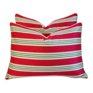 French Stripe Ticking & Velvet Pillows - a Pair
