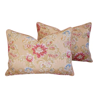 "Scalamandre Floral Silk Feather/Down Pillows 25"" X 18"" - Pair"