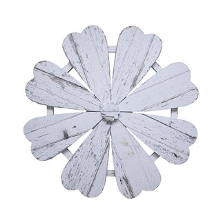 Rustic White Barn Wood Flower Wall Art