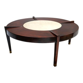 Brazilian Jacaranda and Marble 1960s Round Coffee Table