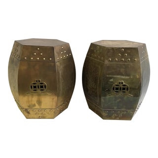 Vintage Brass Pagoda Style Garden Stools - A Pair