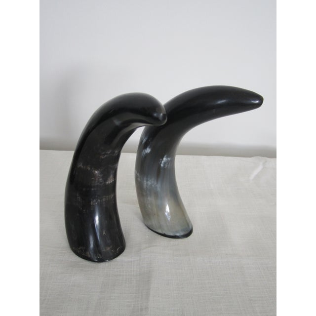 Authentic Black & White Horn Sculptures - A Pair - Image 6 of 7
