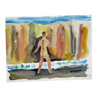 Original Watercolor, Swimmer Cliff Side, Daniell