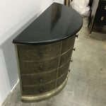 Image of Demi-Lune Silver Metal Chest Side Table