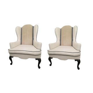 Re-Furbished Custom Wing-Back Armchairs - A Pair