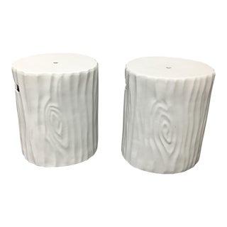 White Ceramic Stump Garden Stools - A Pair
